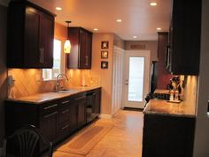 Galley Kitchen Remodel Dark Cabinets craftsman style galley kitchen - google search | kitchen redesign