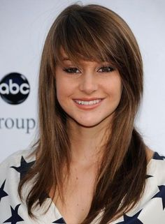 Cute Long Straight Hairstyle with Wispy Bangs