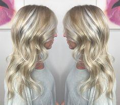 platinum blonde hair with balayage highlights