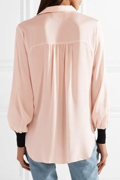 Pastel-pink stretch-silk and black ribbed-knit Slips on 92% silk, 8% elastane; trim: 86% viscose, 14% elastane Hand wash Imported The Curated Closet, Malene Birger, Chiffon Shirt, Bell Sleeve Top, Style Inspiration, Knitting, Sleeves, Sweaters, Shirts