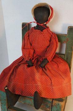 "Antique black cloth doll in red polka dot dress18"" Circa 1880"