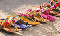 Buy Walk in Tradition by Aprajita Toor Handcrafted sandals with beads and pom poms Online at Jaypore.com