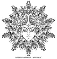 Buddha face over ornate mandala round pattern. Esoteric vintage vector illustration. Indian, Buddhism, spiritual art. Hippie tattoo, spirituality, Thai god, yoga zen. Coloring book pages for adults.
