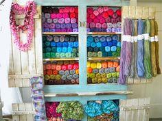 Blueball Mountain Spindle & Needleworks a wool, yarn and fiber shop. I like this as a yarn organization idea.