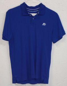 AERO Aeropostale Mens Royal Blue 100% Cotton Short Sleeve Polo Shirt Medium M #Aropostale #PoloRugby