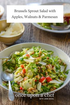 Brussels Sprout Salad with Apples, Walnuts Sprouts Salad, Brussel Sprout Salad, Brussels Sprout, Parmesan, Turnip Soup, Shredded Brussel Sprouts, Healthy Salad Recipes, Healthy Meals, Vegan Recipes