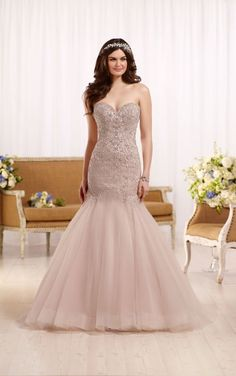 D2195 Fit and flare wedding dress with tulle skirt by Essense of Australia- Available at Uptown Bridal & Boutique- Chandler, AZ- www.uptownbrides.com