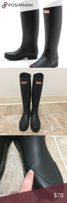 Hunter Black Equestrian Style Boots Guaranteed authentic. Excellent used condition! Flaws include: there's a cracking on the front of one boot as shown in pic as well as some peeling on the bottom of the soles. However glue can fix it, otherwise this does not actually effect the Boots because there's a protective layer underneath!  Super cute at an affordable price. Ask to bundle for a discount. No free ship!  *shoes do not come in original box, just priority box for shipping. Hunter Shoes