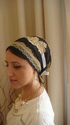 apron style fancy jewish headcovering tichel headscarf. $43.27, via Etsy.