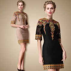 Tapestry flowers 2014 spring women's fashion national embroidery slim lace one-piece dress $68.00