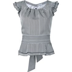 Guild Prime striped frilled cap sleeve blouse (97.765 CLP) ❤ liked on Polyvore featuring tops, blouses, white, white top, white blouse, cap sleeve blouses, frilly blouse and ruffle blouse