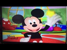 From the beginning of Daisy's Dance. Mickey greets the viewer and waves hello before Daisy arrives. Mickey Mouse Clubhouse, Daisy, Make It Yourself, Disney Characters, Youtube, School, Margarita Flower, Daisies, Youtubers