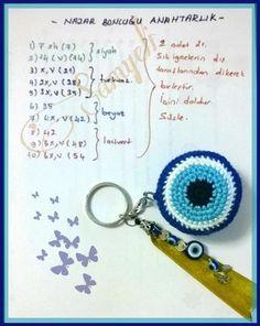 Do not let us touch the evil eye. Crochet Keychain, Crochet Earrings, Bead Keychain, Crochet Gifts, Crochet Dolls, Crochet Cross, Free Crochet, Amigurumi Patterns, Crochet Patterns