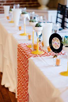 mid-century inspired wedding - photo by Christina Karst Photography… 1960s Wedding, Mod Wedding, Chic Wedding, Wedding Table, Rustic Wedding, Casual Wedding, Spring Wedding, Wedding Decorations, Table Decorations