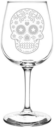 Heart & Star | Mexican Sugar Skull Day of The Dead Calavera Inspired - Laser Engraved Libbey Wine Glass.  Full Personalization available!  Fast Free Shipping & 100% Satisfaction Guaranteed.  The Perfect Gift!