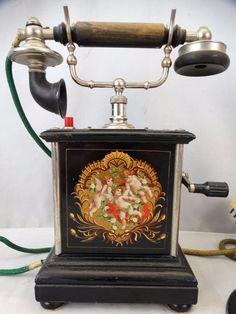 Antique Edwardian Era Danish Castle Phone Victorian Cherub Old Ktas Crank Phone… Vintage Phones, Vintage Telephone, Antique Phone, Retro Phone, Danish Style, Modern Victorian, Old Phone, Phonograph, Edwardian Era