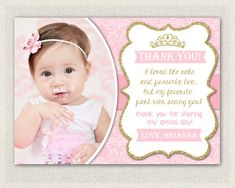 First birthday matching thank you card the big one diy printable gold and pink princess thank you card printable download birthday thank you note glitter gold girls birthday bookmarktalkfo Image collections