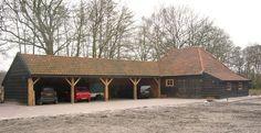 SAKSISCHE KAPSCHUUR MET DRENTSE KAPSCHUUR 1 - Schipper Houtbouw - houten woningen, schuren, tuinhuizen, blokhutten, paardenstallen, garages, tuinhout