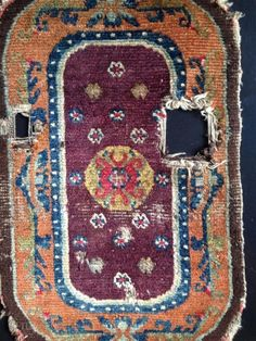 this is an absolutely rare early tibetan saddle top with majestic colors. a perfect wallnut border containing a crazy purple field protecting a brillant yellow jewel. Tibetan Rugs, I Don T Know, Carpets, Bohemian Rug, Jewel, Thats Not My, Textiles, Patterns, Yellow