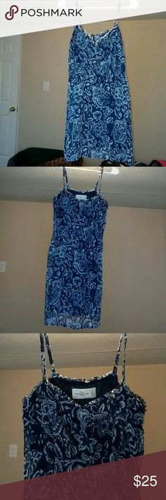 Abercrombie & Fitch sun dress Navy blue and white sheer floral print  over a Navy blue attached slip dress with delicate spaghetti straps that are adjustable. Very cute with wht flats and cardigan, alone with wht strappy wedges  or wht flip flops and a denim jacket/vest. Versatile Abercrombie & Fitch Dresses Mini