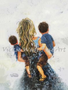 Mother Two Sons Art Print two boys two brothers mother image 2 Boys Colored Hair, Tattoo For Son, Mother Images, Boy Tattoos, Two Brothers, Boy Art, Sons, Fine Art Prints, Original Paintings