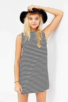 BDG Mod Stripe Mock-Neck Trapeze Dress - Urban Outfitters