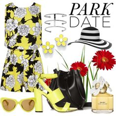 A Walk in the Park by hastypudding on Polyvore featuring polyvore fashion style Miss Selfridge Topshop Rachael Ruddick Marc by Marc Jacobs Linda Farrow Marc Jacobs playsuit romper fashionset