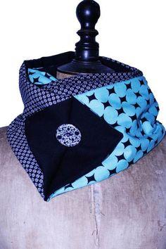 Echarpe Snood original en tissu - Vert canard   Noir   Echarpe, foulard, 815d3e47db8