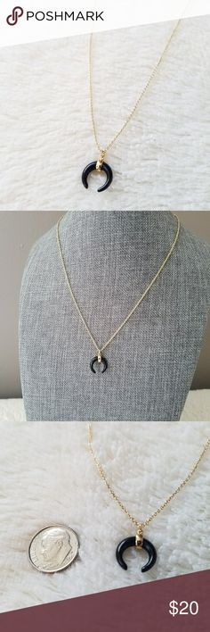 Semi Precious Crescent Necklace Delicate and dainty, yet trendy and a bit edgy! This onyx and gold crescent necklace is a beautiful piece, for sure! The chain has 3 length options as shown in picture above. The horn pendant is an on-trend item! Snag this look today! Save 15% with a bundle, too! Paragon Accents  Jewelry Necklaces