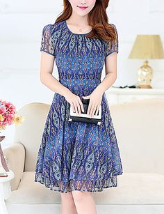 Women's Plus Size Going out Sophisticated Chiffon Dress,Print Round Neck Knee-length Short Sleeve Polyester Blue Red Summer Mid Rise 5558028 2017 – $18.99