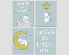 Elephant Nursery Art -- Dream Big Little One -- Nursery Decor, Elephants Moon and Stars, Set Of 4 Prints, Kids Wall Art, Neutral Nursery by SweetMelodyDesigns on Etsy https://www.etsy.com/listing/164285052/elephant-nursery-art-dream-big-little