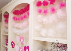 Cute decor idea -- could also make garlands with alternating heart letters & tulle puffs