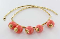 Vintage 18 Karat Yellow Gold Coral Charm Necklace Estate Fine Jewelry Heirloom