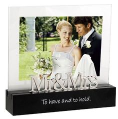 Malden Celebrated Moments Black Wood Picture Frame, Mr. and Mrs., 5 by 7-Inch -: Wedding gift