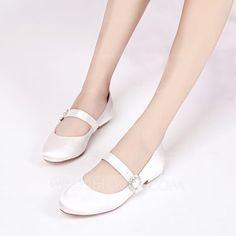 [US$ 47.99] Women's Silk Like Satin Low Heel Closed Toe Flats MaryJane With Buckle (047133543)