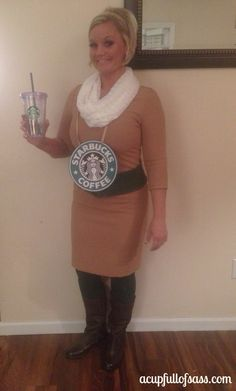Starbucks diy costume #starbucks #halloween #costume #homemadecostume