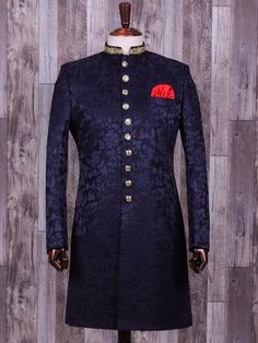 Shop Navy terry rayon classy indo western online from India. Blue Sherwani, Sherwani Groom, Mens Sherwani, Indian Men Fashion, Mens Fashion Suits, India Fashion Men, Fashion Wear, Indian Wedding Clothes For Men, Indian Groom Dress