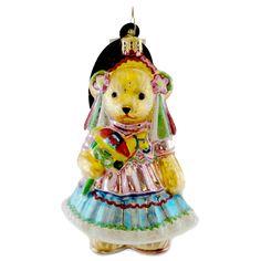 Muffy Feliz Cumpleanos Glass Ornament