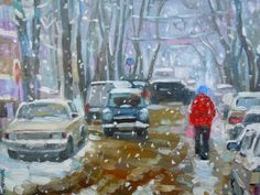 """Original oil cityscape painting """"Winter Day. Simferopol"""" wall decor, snow, white, christmas gift, blue, winter, desember, ready to hang on Etsy, $75.00"""