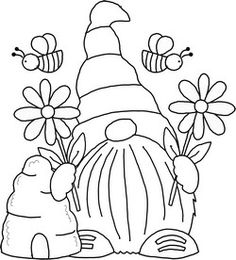 Gnome Pictures, Pictures To Draw, Rock Painting Designs, Painting Patterns, Kids Art Class, Art For Kids, Coloring Books, Coloring Pages, Gnome Paint