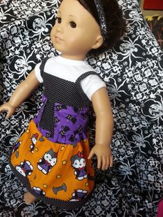 American Girl 18 Halloween Hello Kitty 3 piece by FlutterbyThreads, $18.00