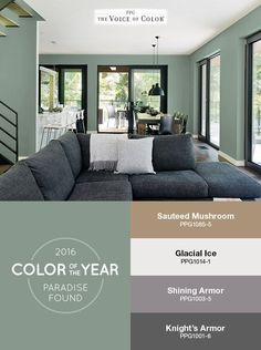 PPG names Paradise Found as Color of the Year 2016! Shades in a Sauteed Mushroom or dark wooden shutters would really bring the room together. What do you think?