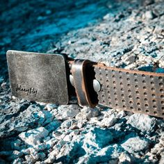 Vintage Dimpled Leather Belt with Distressed Raw Buckle