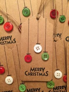 Christmas Gift Tags with Buttons
