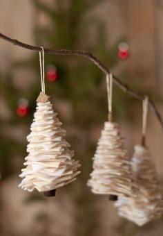Mini felt tree decorations:  DIY Tutorial DIY Christmas Crafts / DIY Make Felt Christmas Tree Decorations - Bead&Cord