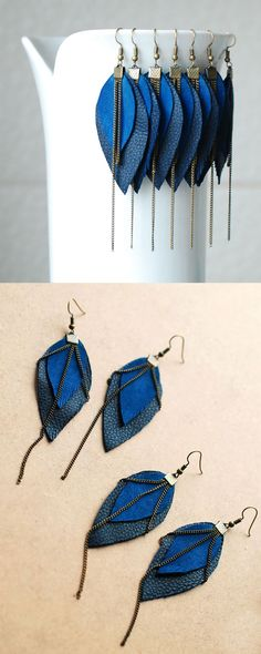 Long Leather Earrings- Leather Feather Earrings- Dangle Earrings- Recycled Earrings- Boho Earrings- Blue Earrings- Layered Earrings would love in different colors Leather Accessories, Leather Jewelry, Boho Jewelry, Jewelry Crafts, Beaded Jewelry, Handmade Jewelry, Jewelry Design, Jewlery, Blue Earrings