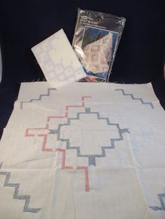Vogart 6 Geometric Quilt Blocks Stamped Embroidery Cross Stitch NIP 18 x 18