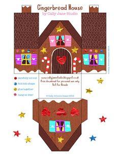 printable gingerbread house by cally jane studio Christmas Gingerbread, Noel Christmas, Christmas Paper, Christmas Ornaments, Gingerbread Houses, 3d Templates, House Template, Hello December, Navidad Diy
