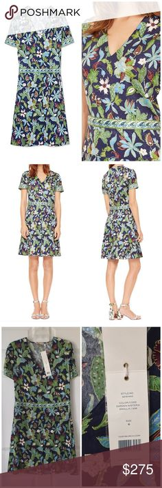 Tory Burch Dress - Size 6 Tory's Burch stretch-silk dress, blooming with an exotic floral motif and paisley trim.  Size 6 MSRP: $450  Silk/spandex Fold-over v-neck, attached ties with front loop Short sleeves, pleated skirt Floral print body, paisley trim Concealed side zip closure Tory Burch Dresses