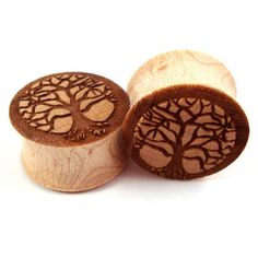 "Tree of Life Maple Wooden Plugs - 0g (8mm) 00g (9mm) (10mm) 7/16"" (11mm) 1/2"" (13mm) 9/16"" (14mm) 5/8"" (16mm) 3/4"" 19mm 7/8"" 22mm 1"" 25.5mm"